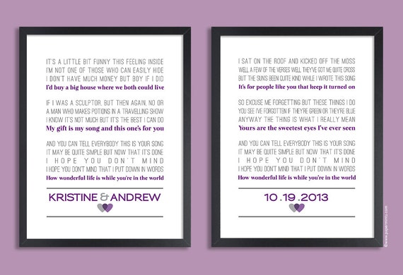 Custom Wedding Vows Set Of Two Prints Personalized Print Anniversary Gift