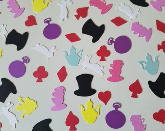 Mad Hatter Tea Party Confetti - Set of 140 - Alice in Wonderland - Through the Looking Glass - Table Confetti - Party Decor