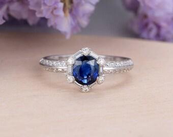 Sapphire Engagement Ring Vintage Wedding Diamond Oval Cut Antique Art Deco Half Eternity Bridal Set Halo Ring Anniversary Gift for Women