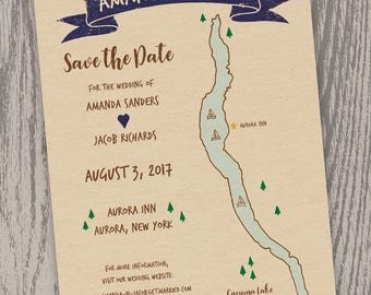 Printable Digital File - Cayuga Lake, NY Map Save the Date Card - Customizable - Wedding, Shower, Hand-drawn, Finger Lakes, Aurora, Ithaca