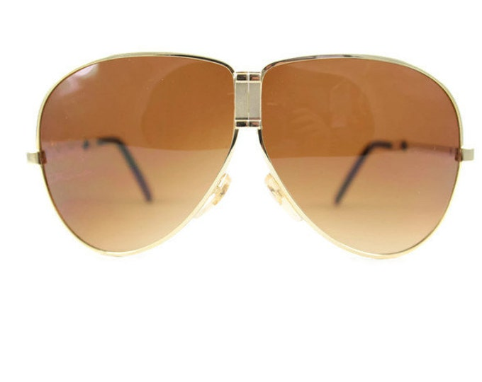 Vintage 1980s Cool Gold Fold Away Aviator Sunglasses with Dark Amber Brown Lenses - Top Gun Gold XX