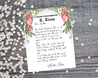 Personalized Letter From Santa Claus-Letter From Santa Claus-Printable Letter From Santa Claus-Personalized Printable Letter From Santa