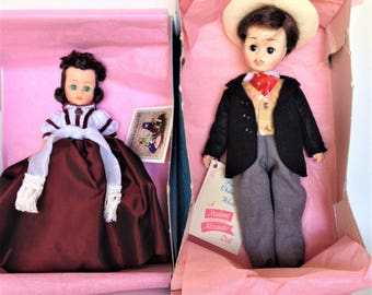 Scarlett O'Hara and Rhett Butler Madame Alexander Dolls, New Mint in Box, Scarlett 1100, Rhett 1380, Collectible, Great Gift