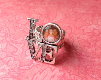 Adjustable Photo LOVE Ring with Twinkle CZ accent