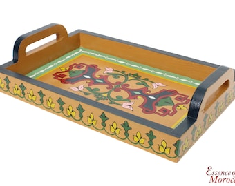 Moroccan Serving Tray. Wood. Handmade Hand painted Yellow. Limited Edition (Ref. SWT22)