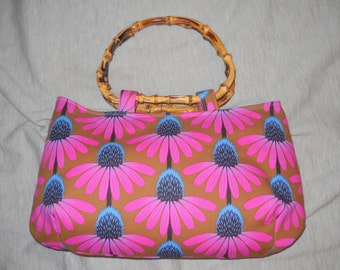 """Medium Sized Bamboo Handled Clutch, Purse, Floral Fabric, Swoon Patterns, """"Coraline"""", Handmade"""