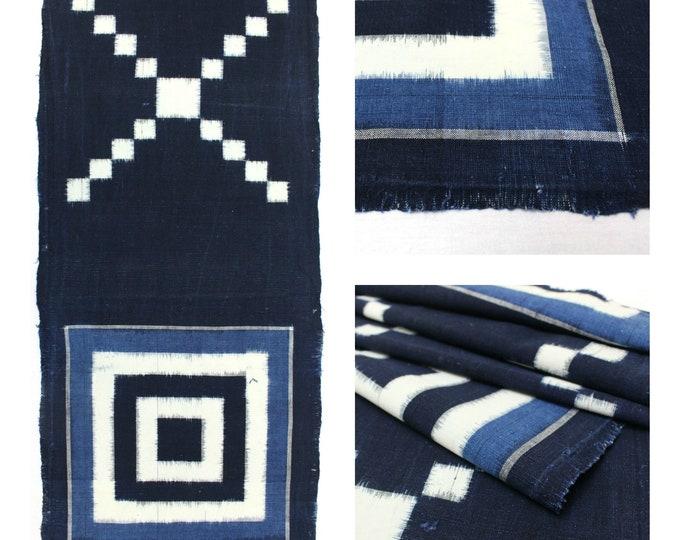 Japanese Vintage Woven Textile. Picture Ikat / Egasuri. Indigo Boro Cotton. Scarf. Fabric. (Ref: 1887)