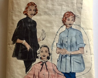 "Vintage 1950s Butterick Misses' Maternity Smock Top Pattern 6533 Size 12 (30"" Bust)"