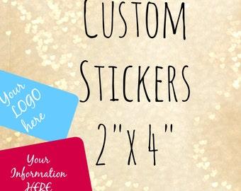 "Stickers 2"" x 4"" (INCHES) custom stickers,logo stickers product labels stickers labels custom labels packaging"