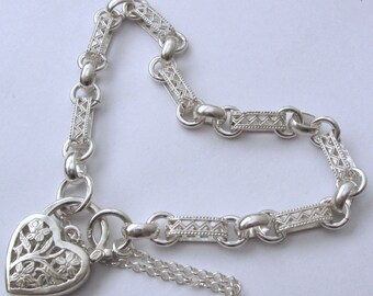 Genuine SOLID 925 STERLING SILVER Oval Belcher Filigree Bracelet with Padlock
