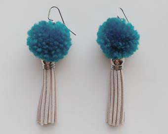 LYDIA Collection BLUE Pom Pom Tassel Earrings