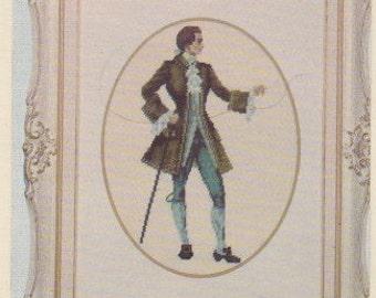 Helen Burgess Counted Thread Design. Victorian Gentleman Pattern. HB4040.
