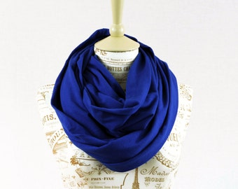Royal Blue Infinity Scarf, Circle Scarf, Blue Scarf, Jersey Scarf, Beauty Gift for Her, Womens Mens Scarves, Outdoors Gift Mother Gift