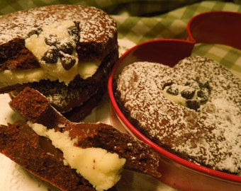 Valentine Cocoa Sugar Cookie with Peppermint Filling, Chocolate Chips. Heart shaped Cocoa cookie and peppermint