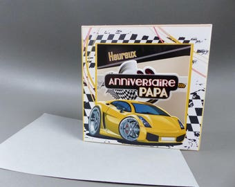 3D card happy birthday dad to put yellow sports car