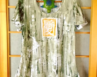 Hand Painted T-Shirt Cotton Tunic Top Plus Size Hawaiian Shirt Work out Maternity top