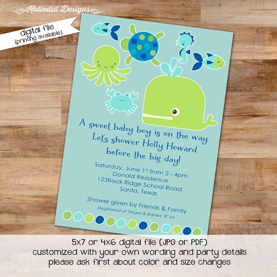 gender reveal invitation Whale baby shower under the sea boy diaper wipes nautical whale turtle octopus ocean fish | 1235 Katiedid Designs