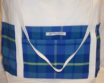 Allyn Tote with Blue Plaid Center