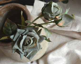 Dark Moss Green Roses Spray Real Touch Flowers DIY Wedding Bouquets Centerpieces, 3 blooms/stem