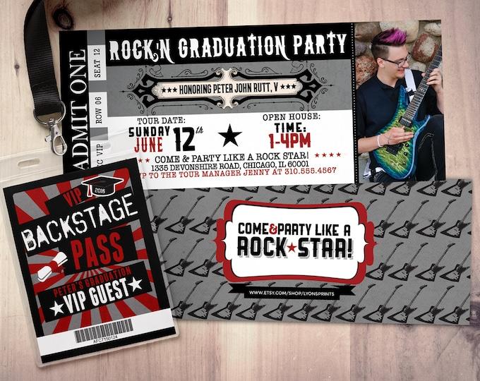 Concert ticket, graduation party invitation, rockstar birthday invitation- -prom invitation, VIP pass, ticket invitation, rock star