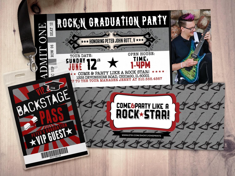 Concert ticket, graduation party invitation, rockstar birthday ...