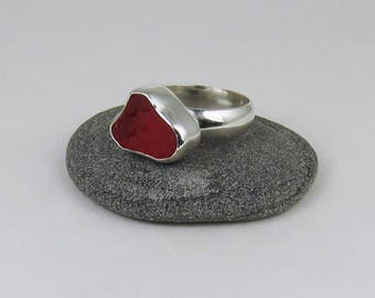Red UV Sea Glass Bezel Ring Maine Size 6