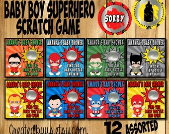 Superhero Baby boy Scratch Game Baby shower scratch off cards Game Scratch Super Baby boy Scratch off game Favors Scratch tags 12 Precut