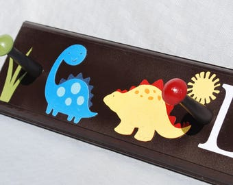 "Dinosaur Coat Rack . 24"" . 4 Pegs . Personalized Coat Rack . Lukas"