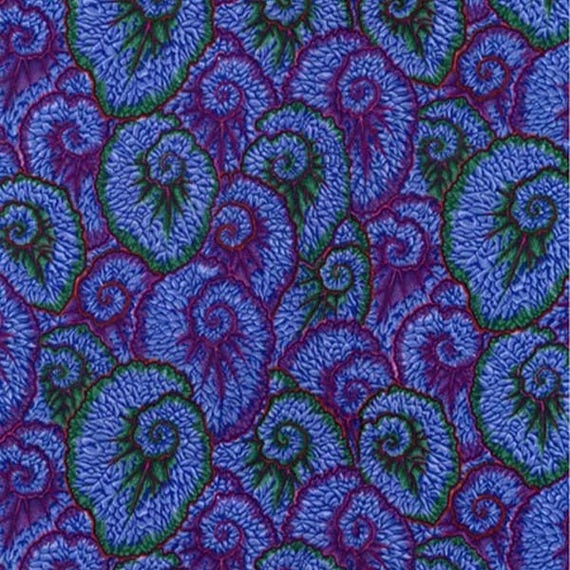 CURLIQUE BLUE PWPJ087 Philip Jacobs for Kaffe Fassett Collective Sold in 1/2 yd increments
