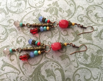 red and copper dangles