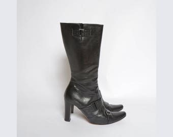 Vintage 90's Black Leather Boots with Buckles