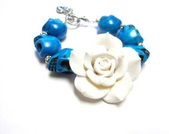 Day Of The Dead Bracelet Sugar Skull Jewelry White Rose Strand Caribbean Blue
