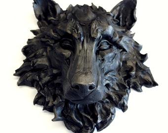Black Wolf, wall sculpture, wolf, wolf portrait, wolf head, direwolf, got direwolf, sculpture, fauna, forest animals, wolves, wolf pack