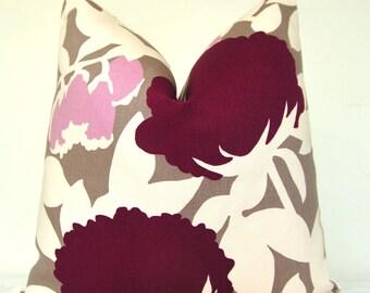 Purple Pillow Cover, Decorative Pillow, Sofa Pillow, Throw Pillow, Toss Pillow, Thomas Paul, Purple Peony, Mauve and Pink