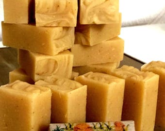 FAS handcrafted natural SOAP. Natural scent of Ylang Ylang essential oils and Rosemary. Due to turmeric, 55 g natural color