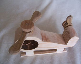 Toy Heliocopter Handcrafted from Recycled Wood for Children