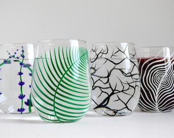 Hand Painted Glass Sampler Set - 4 Piece Painted Stemless Wine Glass Collection
