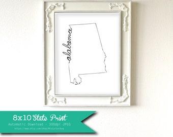 Printable Alabama State Art Print 8x10 Digital Wall Art Gift