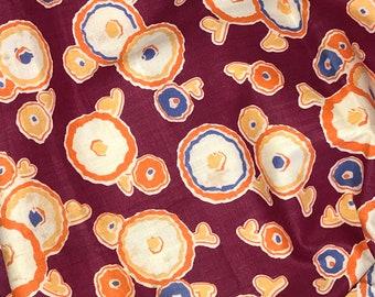 Vintage Fabric, Stash Reduction, Pre 1950, 50's, Geometric Flowers, Atomic,