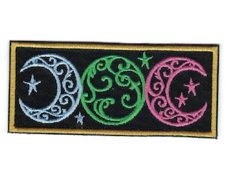Embroidered Triple Moon Patch Iron On Applique