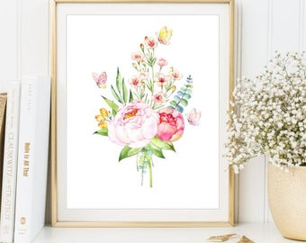 Watercolor Flowers Print, Watercolor Peony Bouquet poster, Watercolor Butterflies Printable art sign, Home Decor, Wall Decor, DIGITAL FILES