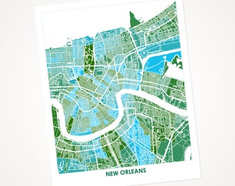New Orleans Map Print.  Choose the Colors and Size.  Tulane University Graduation Gift.  Louisiana Art.
