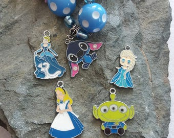 Blue Bubblegum Necklace. Alien, Alice in Wonderland, Stitch, Cinderella, Elsa
