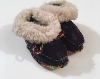 Real mouton fur baby slippers  F469