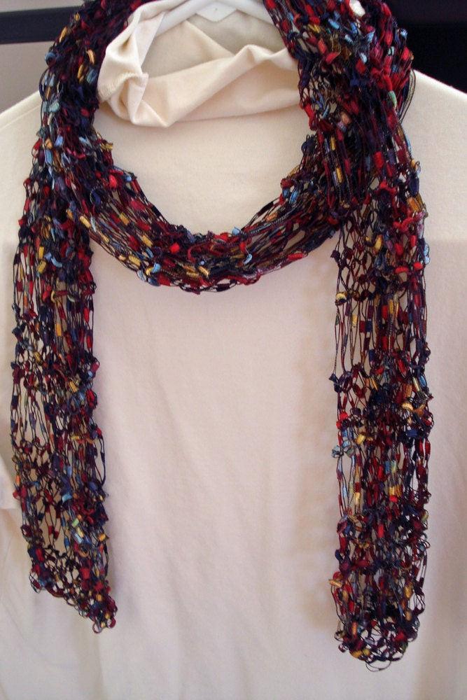 Pattern for Knit Necklace Scarf of Ladder Ribbon Yarn with ...