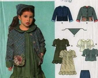 2000 Girls' DRESS Top SKIRT Pants JACKET Scarf Pattern Simplicity #9417 Size 3-8 Cottage Chic Country Sewing