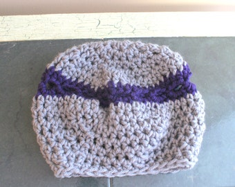 Gray baby hat, Crochet Baby Cloche, Baby Sock Cap, Purple Baby Beanie, Gray Winter Hat, Infant Snow Hat, Crochet Cloche, Child Hat