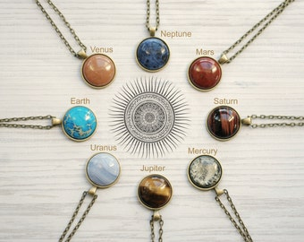 Solar System Necklace Semi Precious Stones Space Jewelry Planets Aligned Bronze Statement Necklace
