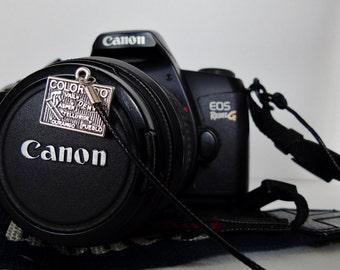 Lens cap strap; Colorado medal w/ strap to attach lens cap to camera; Photographer gift; I love you heart, dog, basketball, baseball, ...