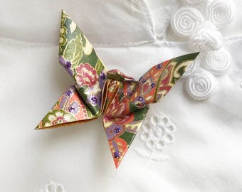 Origami Butterfly Pin (olive, rose)